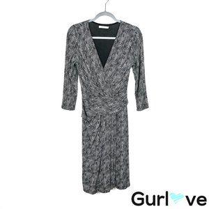 MaxMara 12 Printed Faux Wrap 3/4 Sleeve Midi Dress